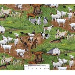 3/4 yard piece Goats on the Farm Cotton Fabric