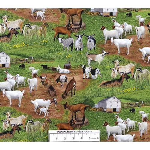 Goats On The Farm Cotton Fabric