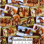 Happy Trails Horses Frames Cotton