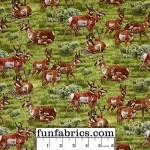 Deer in a Meadow Cotton Fabric