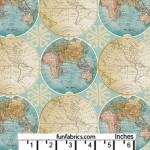 Vintage World Globes Cotton