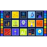 Chemistry Icons Blue Cotton Panel