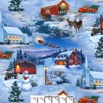 Country Christmas Snow Scenes Cotton