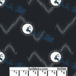 Raindeer in the Moon Deep Blue Cotton