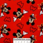 2/3 yard piece Mickey Mouse Stars Red Fleece
