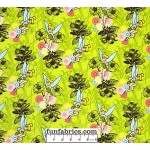 Tinkerbell Flowers Yellow/Green Flannel Fabric
