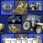 Tractors Machinery Patchwork Blue Cotton