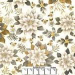 Joyous Garden White Tan 108 Cotton