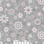 Gray Red Snowflakes Wide Cotton