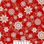 Red Snowflakes Wide Cotton