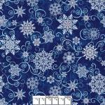 Deep Blue Snowflakes Wide Cotton