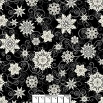 Black Snowflakes Wide Cotton