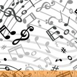 Music Notes White 108 Wide Cotton