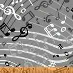 Music Notes Black 108 Wide Cotton