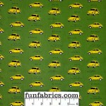 Yellow Volkswagon Bug Green Poplin Cotton