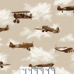 Boeing Classic Planes Toss Sepia Cotton