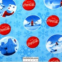 Coca Cola Polar Bear Circles Blue Fleece