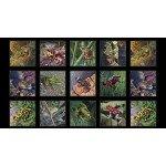 Amazing Frogs Black Cotton Panel