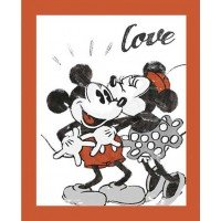 Mickey and Minnie Mouse Love Cotton Panel